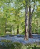 Bluebells under Beech Trees by Sarah Luton, Painting, Oil on canvas