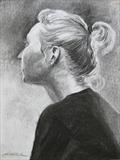 Girl with a ponytail by Sarah Luton, Drawing, Charcoal on Paper