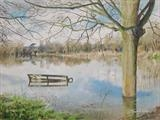 Submerged Bench by Sarah Luton, Painting, Oil on canvas