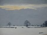Walk in the Snow by Sarah Luton, Painting, Oil on canvas