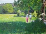 Walk to Cookham Lock by Sarah Luton, Painting, Oil on Board