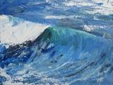 Wave, California by Sarah Luton, Painting, Oil on Board