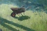 Wheelbarrow by Sarah Luton, Painting, Oil on Board